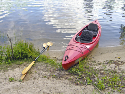 kayak on the river bank.